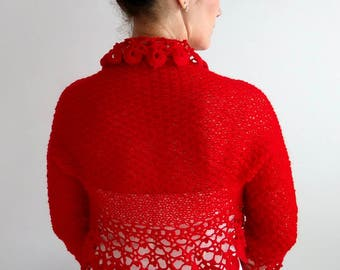 Red bolero, crochet bolero shrug, bridal jacket, wedding cardigan, knitted red shrug, lacy shrug, 3/4 sleeves, red shrug, fast shipping
