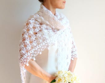 On sale, white shawl, bridal wrap, crochet shawl, wedding wrap, gift for her, winter wedding, bridal cover up, fast shipping, ready to ship