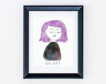 Galaxy Print - Outer Space Decor - Galaxy Painting - Gallery Wall