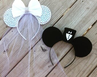Bride and Groom Disney Wedding Minnie and Mickey Mouse Ears
