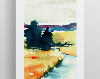 Watercolour Italian Landscape - Yellow Blue Orange - A3 - A4 size - Fine Art Print - Limited Edition - Inspired by landscape in Italy