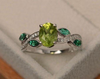Natural peridot ring silver, green gemstone ring, multistone rings, sterling silver, oval cut peridot, leaf ring
