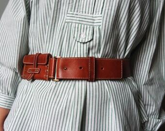 Vintage Leather Belt Real Leather Brown Belt Genuine Leather Belt With Small Pockets Waist Belt Waist belt