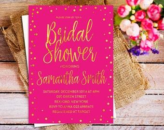hot pink gold bridal shower invitation, Fuchsia Bridal Shower Invitation, hot pink bridal shower invites, magenta bridal shower, faux gold