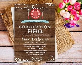 graduation bbq invitation , BBQ Graduation Party Invitation, Backyard BBQ Invitation Printable, Graduation BBQ Custom digital Invitation