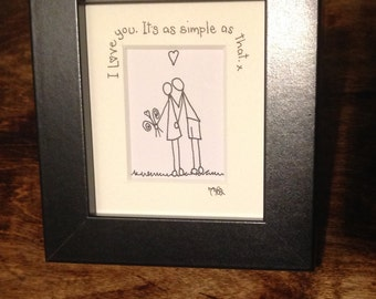 I love you it's as simple as that, individually drawn box frame picure