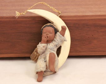 Miss Martha's Collection by Enesco. Angel on Moon Hanging Ornament. Does Not Include Original Box.