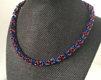 Square Byzantine choker, red, blue, black