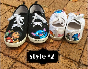 Sale Lilo and Stich themed hand painted shoes any size women, men, kids and toddler sizes