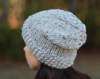 READY TO SHIP Chunky Knit Slouchy Hat, Chunky Knit Hat, Chunky Knit Toque, Knitted Hat, Winter Hat, Women's Hat