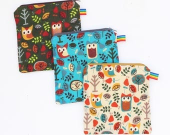 Reusable Snack Bag -Reusable Sandwich Bag - Zipper Pouch - Zipper Bag - Reusable - Birthday Gift - Waterproof Bag - Waxed Fabric Bag - Owls