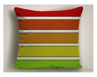 Red and Green Outdoor Pillows, Large Outdoor Pillow, Striped Patio Pillows