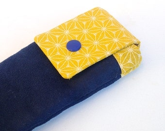 Smartphone Pocket Navy Blue and yellow mustard