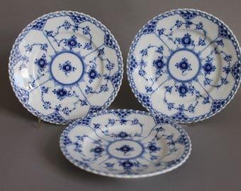 Royal Copenhagen Blue Fluted Full Lace 3 Bread & Butter Plates # 615