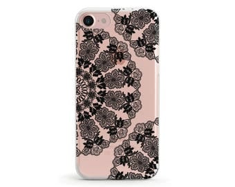 Lace Doily, Black, Clear Soft Phone Case, iPhone 7, iPhone 7 plus, iPhone 6, iPhone SE, Samsung