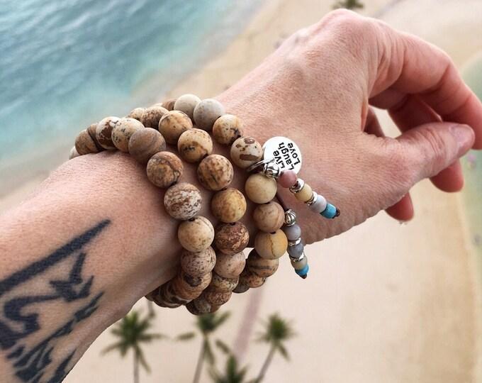 Featured listing image: Beach Bracelet | Triple Wrap | Picture Jasper | Amazonite | Gemstone Mala Beads | Wrist Mala | Mala Bracelet | Yoga Jewelry | Reiki | Boho