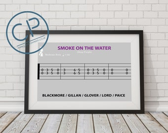 Smoke on the Water Deep Purple. Guitar TAB inspired print. A4 or A3