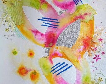 Zesty. Original A2 painting. Bright pinks and yellow abstract.