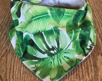 Bandana Drool Bib- tropical leaves
