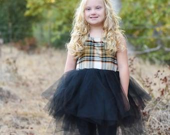Flannel Plaid Tutu Dress - Yellow And Black
