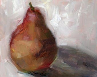 Original PAINTING, Oil Painting, Still Life, Pear, White, Modern, Art