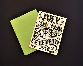 green black and white hand lettered customized birthday card