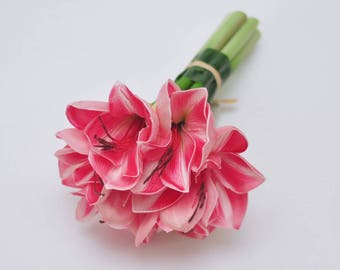 Real Touch Pink Bush Lily bridal bouquets wedding centerpieces home decor boutonnieres  corsage real touch flowers Faux amaryllis