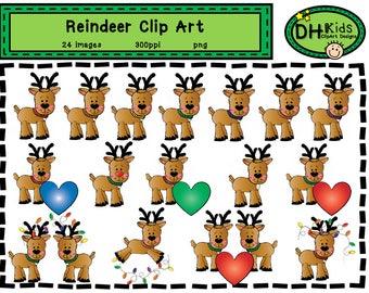 Reindeer Clip Art - Christmas Clip Art - Digital Clipart - Instant Download