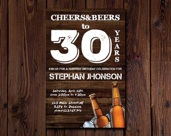 Rustic Cheers and Beers to 30 Years Birthday Invitation • 30th, 40th, 50th Surprise Birthday Party, Instant Download, Birthday Invitation