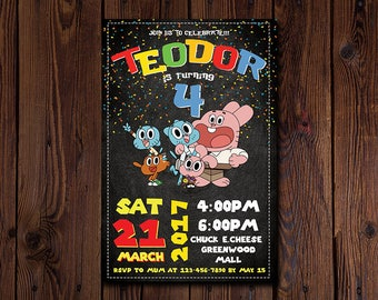 The Amazing World of Gumball Invitation DIGITAL download, Gumball birthday invitation, Gumball party, Gumball Printables