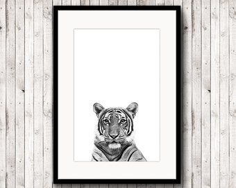 Tiger poster, tiger print, animal poster, black and white photography, printable tiger, poster digital, nursery art, digital download