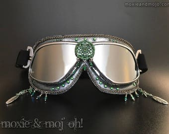 "Burning Man Playa Festival Goggles: ""Rainforest Dreams"" ~ 100% UV protection, durable, high quality, excellent for keeping playa dust out!"