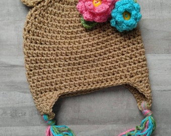 Flower Bear Hat//Girls