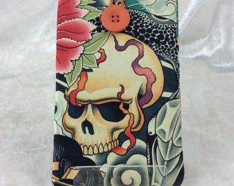 Gothic Zen Charmer Phone Glasses Case elastic button Alexander Henry design fabric Handmade in England