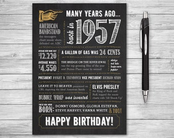 5x7 - 61st Birthday, Printable Folding Greeting Card, Many Years Ago Back in 1957, Instant Digital Download, DIY Print at Home, Chalk