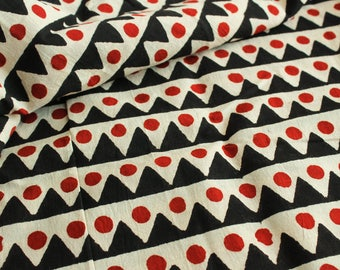 End Of Bolt- 2.7 yards of Block Print Fabric, Indian Cotton Fabric, Geometric Print Fabric, Beige and Black Block Print Fabric