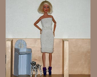 Knee-lenght white Dress knitted Barbie handmade dress - Knit-fashion royalty-monster hight-made in France-french
