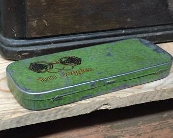 vintage SUN GOGGLES tin case glasses box