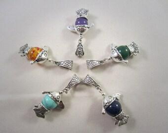 Tibetan Silver Fish Pendant with Gemstone of Your Choice. Options: Amethyst, Malay Jade, Lapis Lazuli, Turquoise Howlite, Manmade Amber.