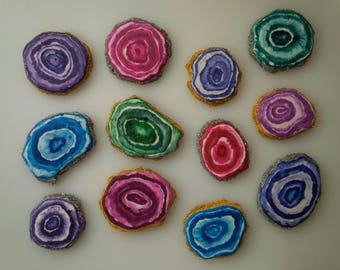 Agate Slice Cookies - One Dozen Decorated Cookies