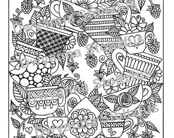Teacups and Berries Coloring Page PDF