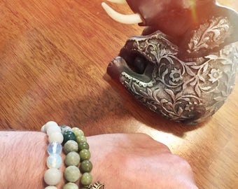 Gratitude Bracelets- Health and Wellness Trio, Jasper, Quatrz, Moonstone and Evil Eye talisman charm