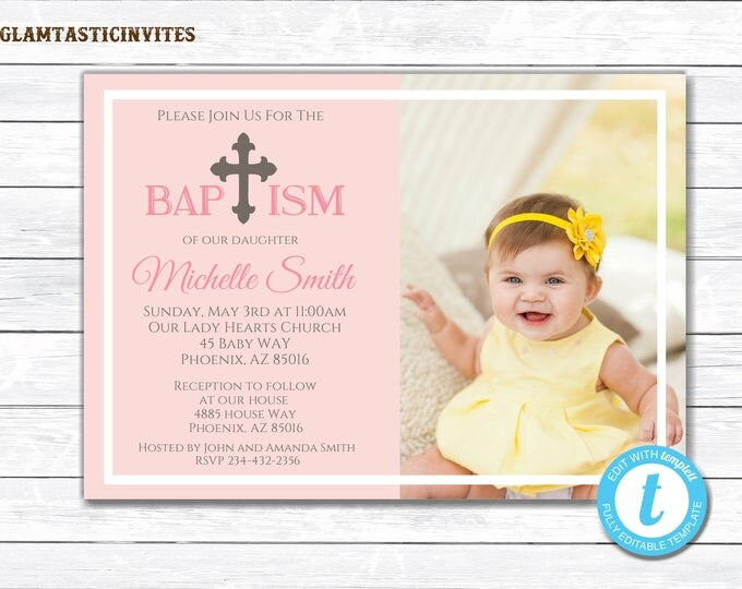 Baptism Invitation Girl, Baptism Invitation Printable, Girl Baptism Invitation, Printable Baptism Invitation, Baptism Template, YOU EDIT