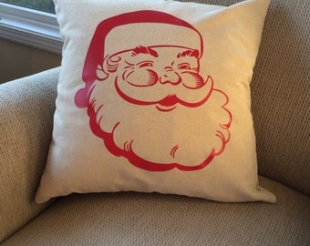 Santa pillow cover- Christmas pillow cover- Santa pillow- Christmas pillow- Santa face- vintage santa- Christmas gift- Christmas decoration