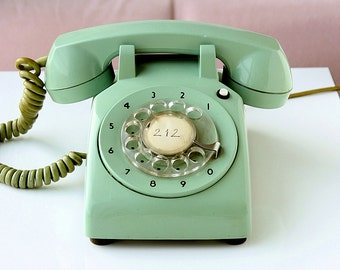 Vintage mint green rotary phone Old telephone Classic desk phone Retro dial phone 70's 80's Retro home decor vintage photo movie prop