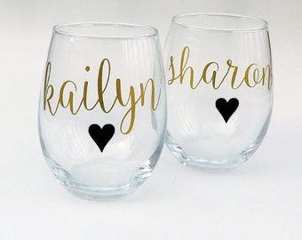 Bridesmaid Wine Glasses Personalized, Bridesmaid Gifts on a Budget- Will You Be My Bridesmaid - Bachelorette Party Gift Ideas - Black, Gold