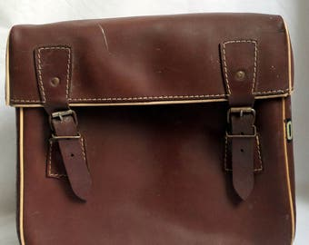 Old bike bag brown leather / solex moped motorcycle accessory / gift french vintage / retro cycling gift.
