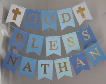 God Bless Banner, Baptism Banner, Blue Gold Baptism Banner, First Communion Banner, Christening Banner, Custom Name Baptism Sign, Blue Gold
