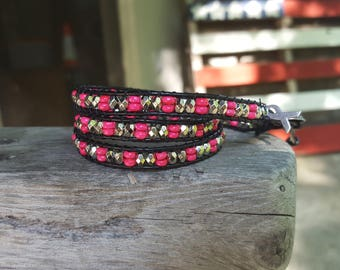 Pink beaded leather wrap bracelet