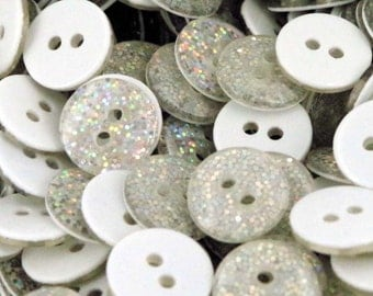 10 x Glitter Resin Buttons Ideal for dance Costumes White  13mm B141W